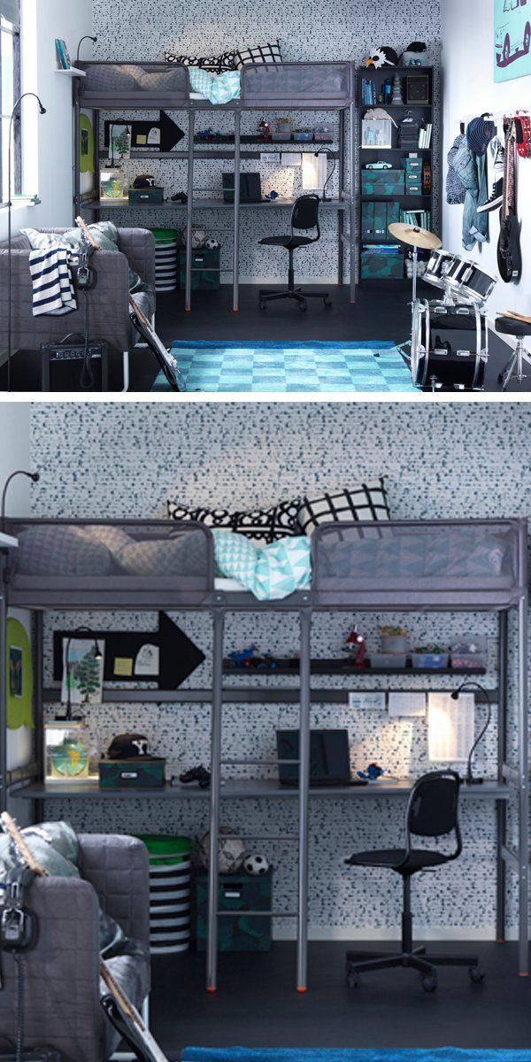 Tuffing Loft Bed Frame Dark Gray Twin Ikea In 2020 Ikea Loft Bed Loft Bed Frame Ikea Loft
