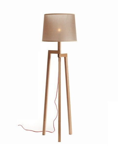 Modern Style Tripod Wooden Floor Lamp With Brown Fabric Shade