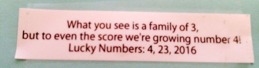 Fortune cookie baby/pregnancy announcement