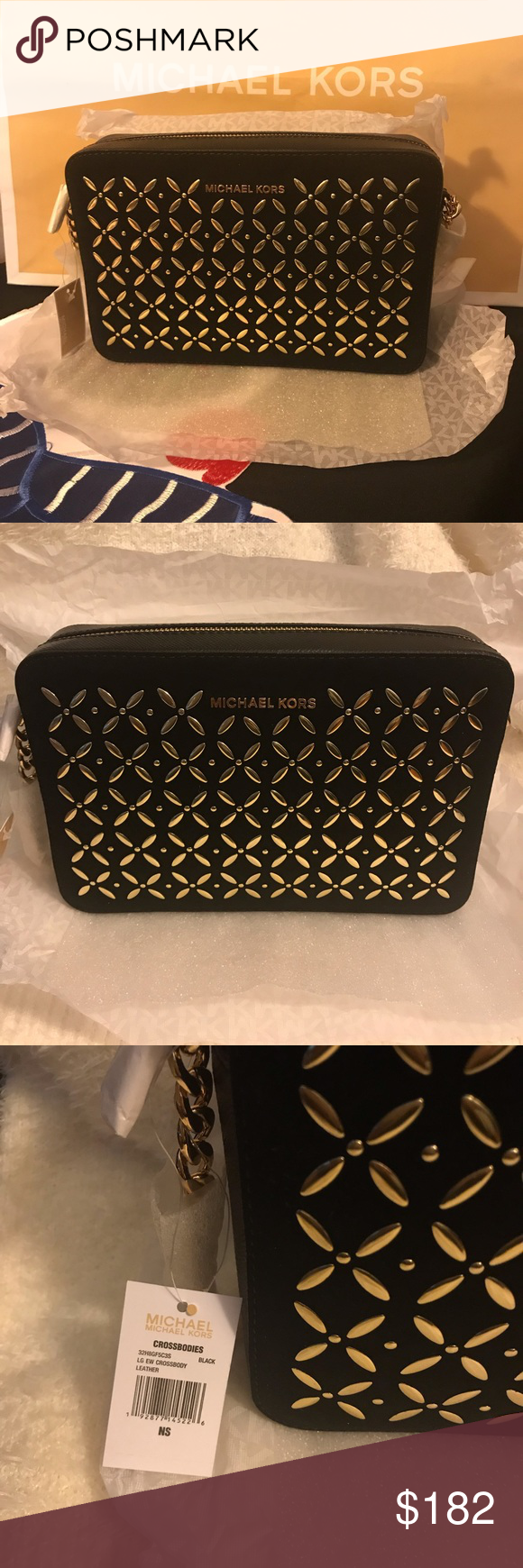 ead4898e408e Michael Kors Crossbody Bag Jet Set Large Embellished Leather Crossbody in  Black and Gold. Original/Authentic with tags. Brand New.