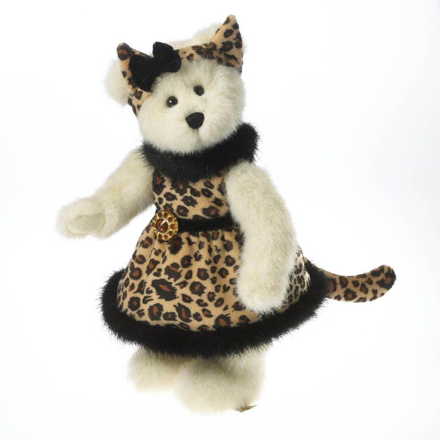 Ain't she the cat's meow!  Ms. Jinx is purr-fectly clad in her leopard print velour dress and matching head bow with black boa fabric trim.  Her costume features a velour leopard print tail and a jeweled broach accenting the bodice of her dress.  Crafted