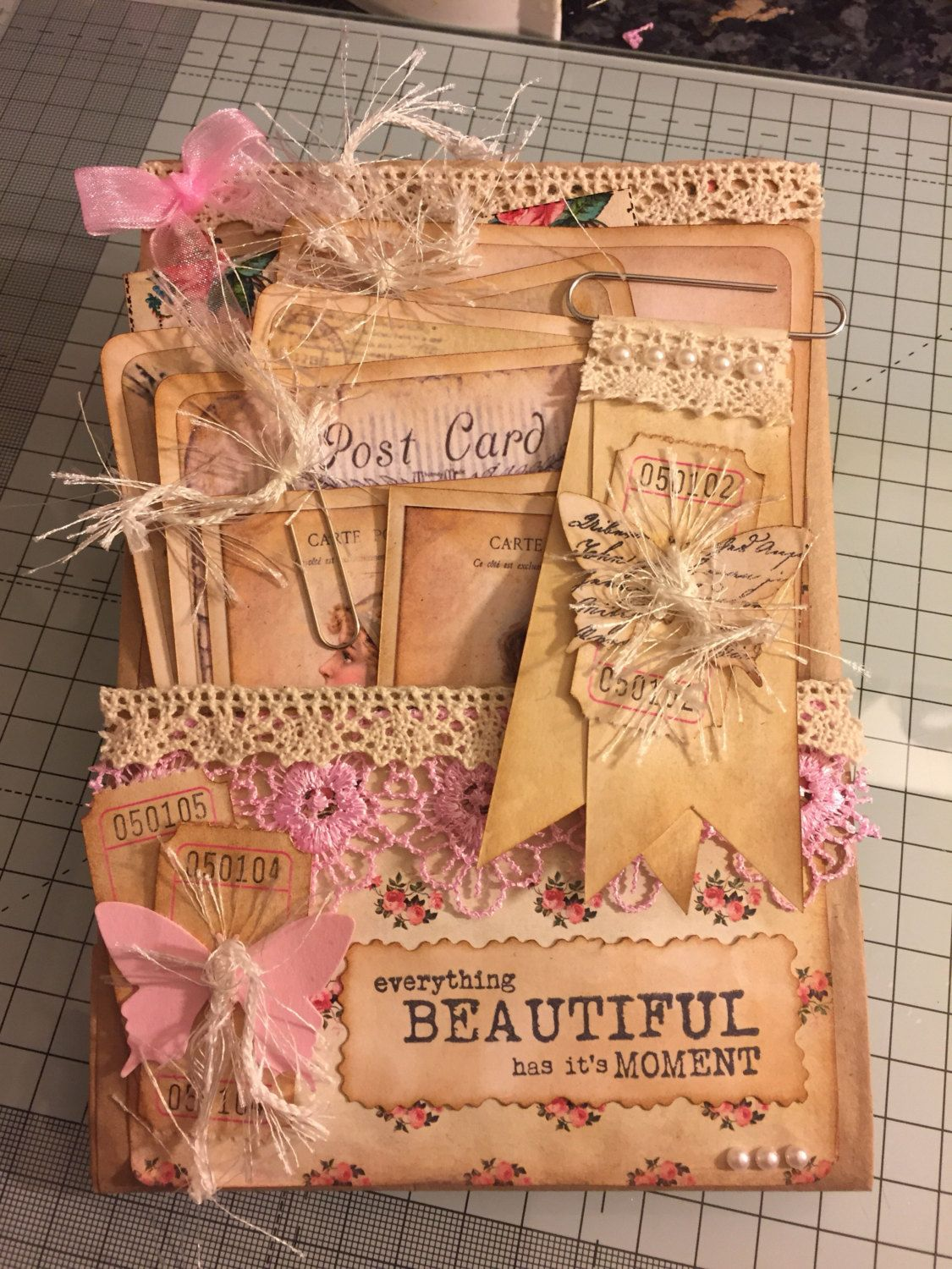 Handmade Altered Paper Bag And Envelope Decorated In A