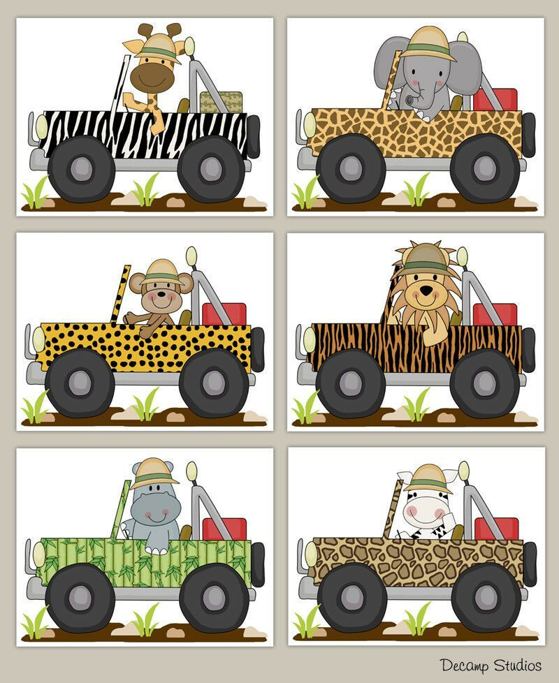 Set Safari Animals Baby Boy Nursery Wall Art Prints Jungle Jeep Car Kids Room