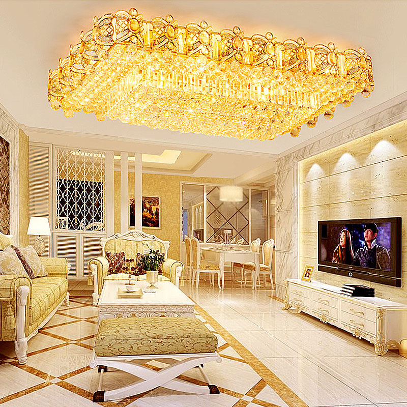 Led Deckenleuchte Kristall Eckig In Golden Fur Wohnzimmer Luxus Stil Beleuchtung Decke Beleuchtung Wohnzimmer Led Deckenleuchte
