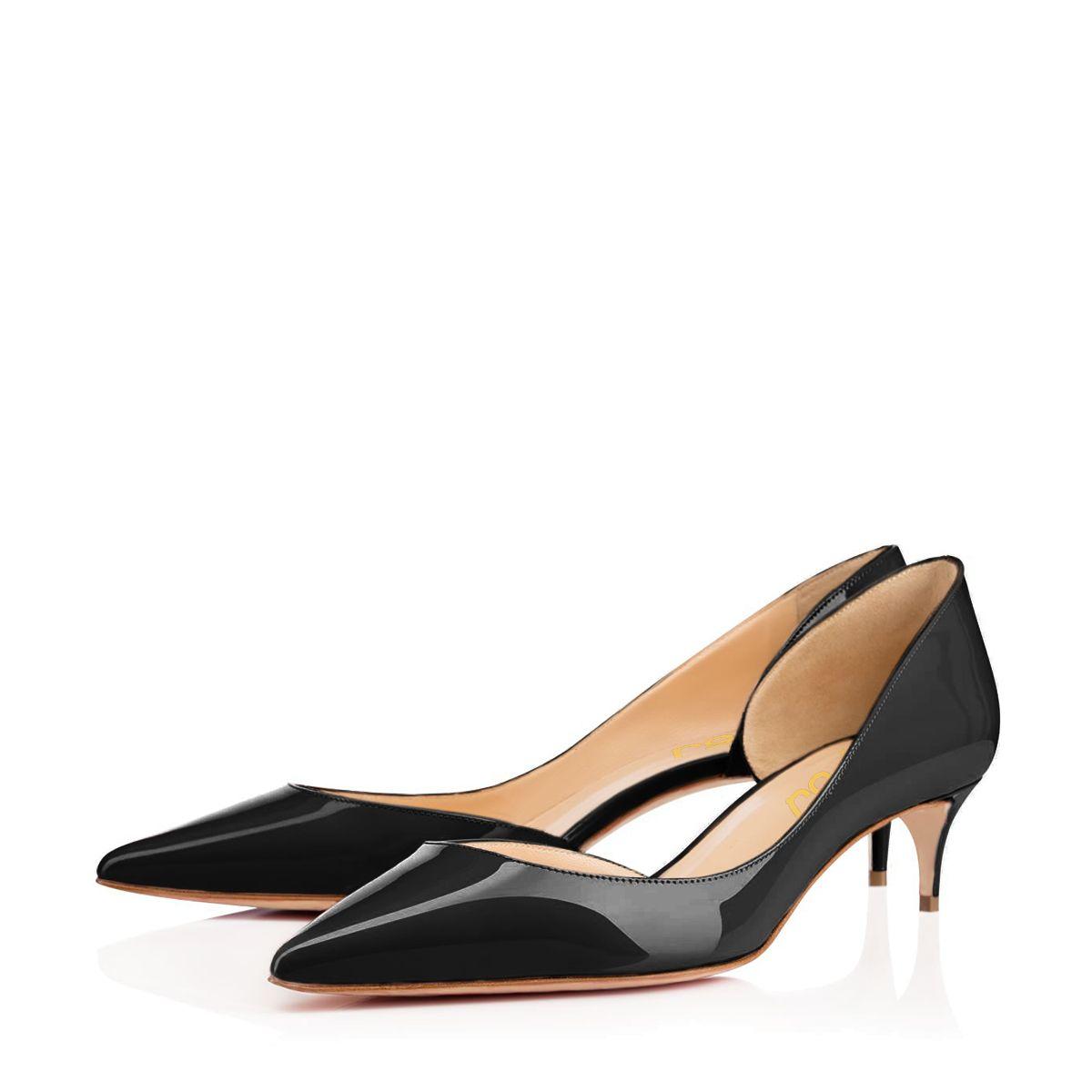 Black Kitten Heels Dress Shoes Pointy Toe Patent Leather D
