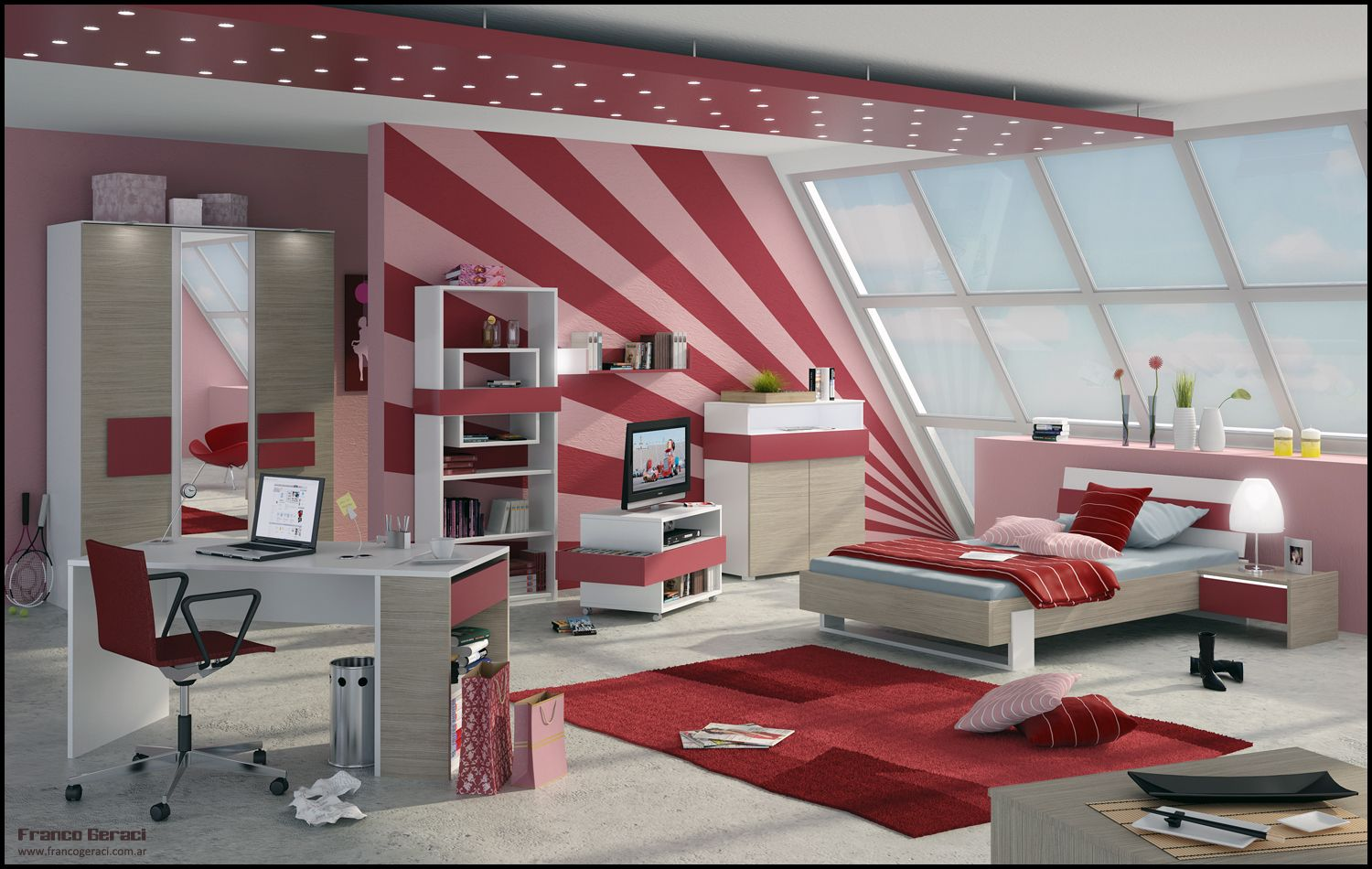 Teenage Room Design pink and red 3d teen room designs for girls – feg teen room