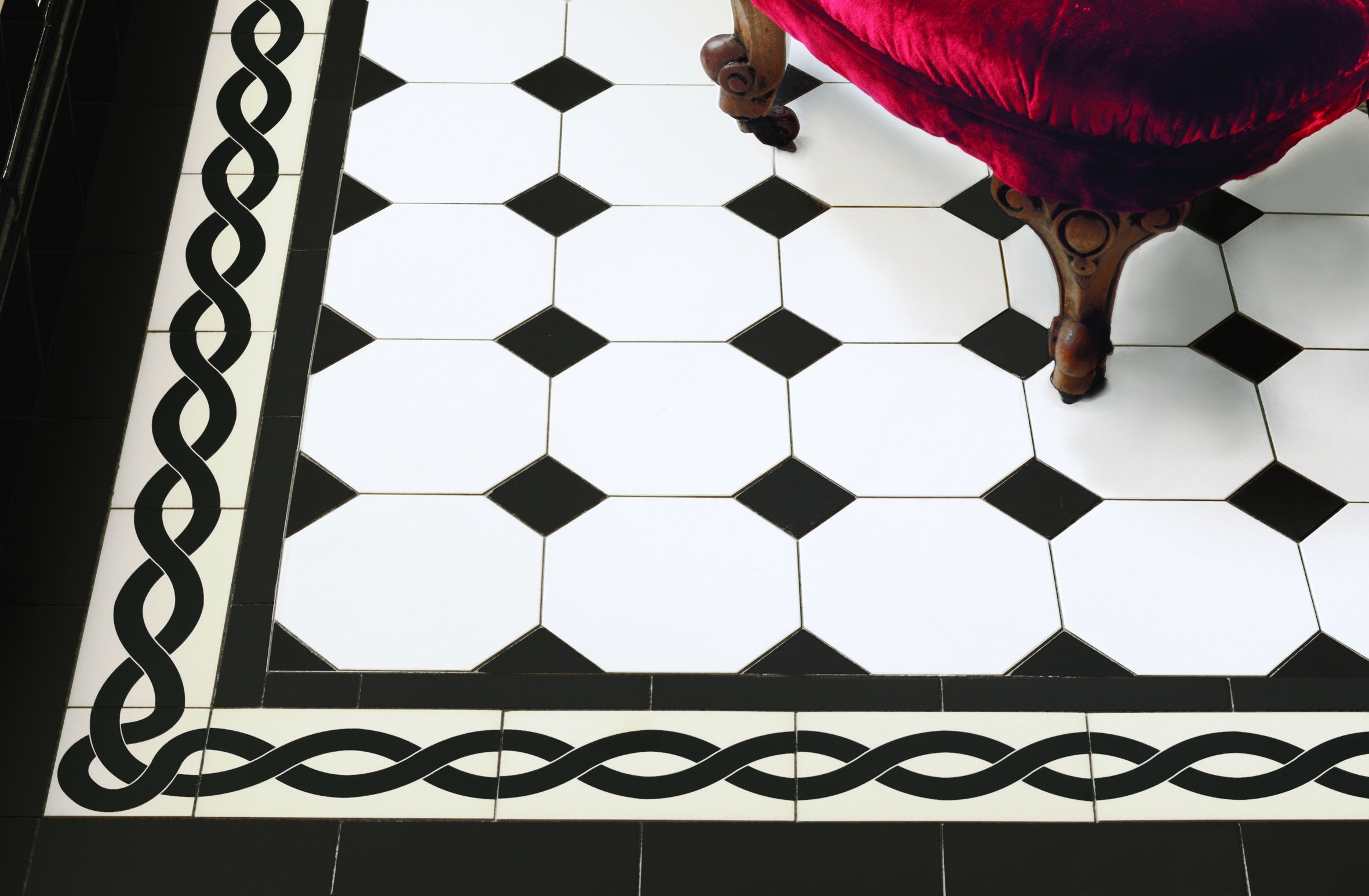 Victorian Floor Tiles The York Pattern In Black And White With A