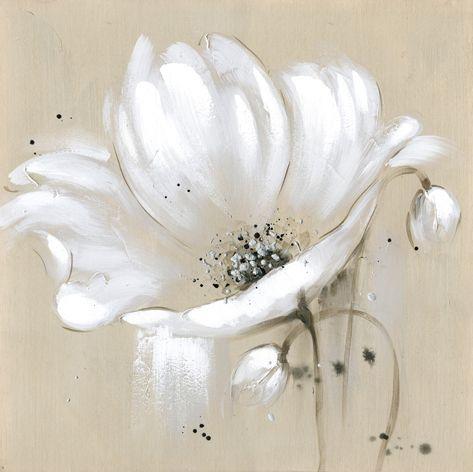 Toile Beige Fleurs Blanches Couteau Peinture À L'Huile Mur Art De