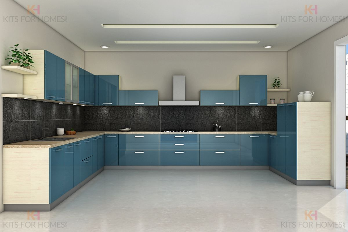U shape Modular Kitchen  Kitchen modular, Interior design kitchen