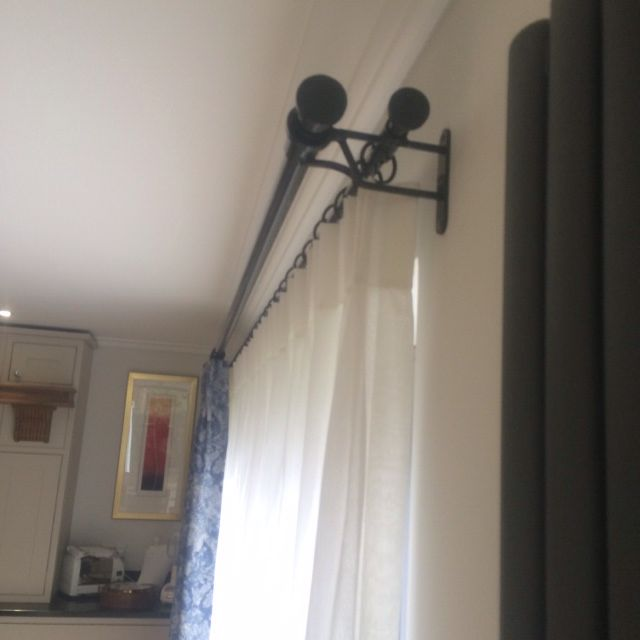 Double Curtain Pole For A Bi Fold Door Only 2 Brackets Curtain
