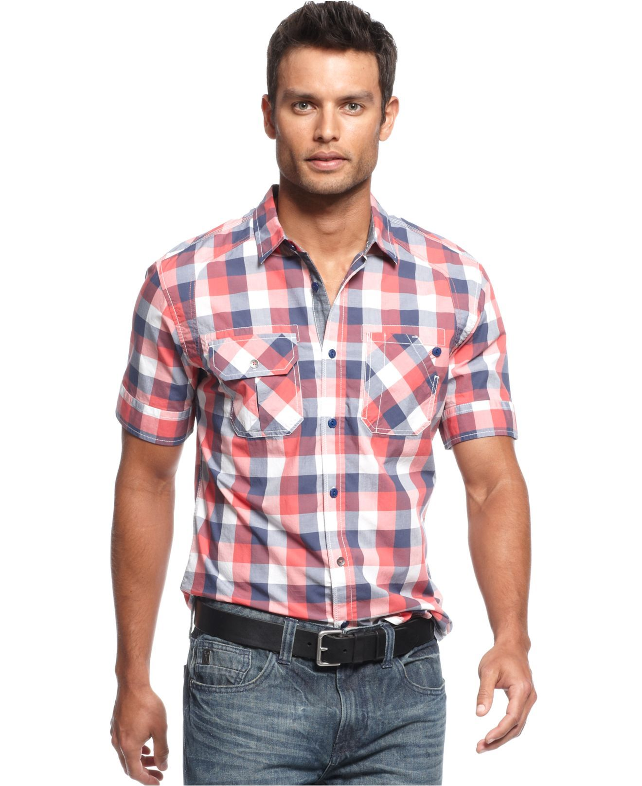 Marc ecko cut sew shirt short sleeve plaid shirt mens Short sleeve plaid shirts