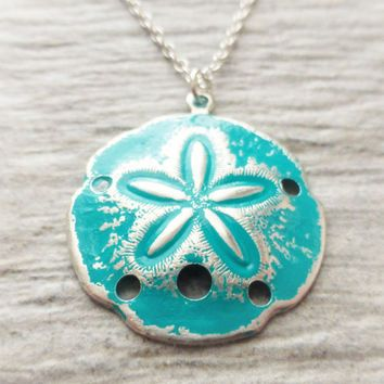 Sand dollar ocean necklace teal patina sand dollar pendant sand dollar ocean necklace teal patina sand dollar pendant sterling silver jewelry beach mozeypictures Choice Image