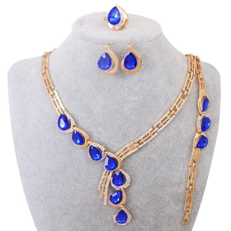 Luxe Crystal Sieraden Set Vergulde Ring Oorbel Armbanden Ketting Waterdrop Set Voor Vrouwen Bruidssieraden