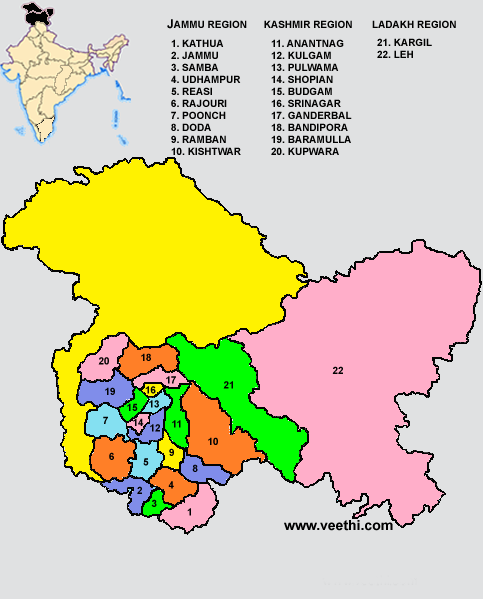 Jammu and Kashmir Districts Map | 122. INDIAN States & Territories ...