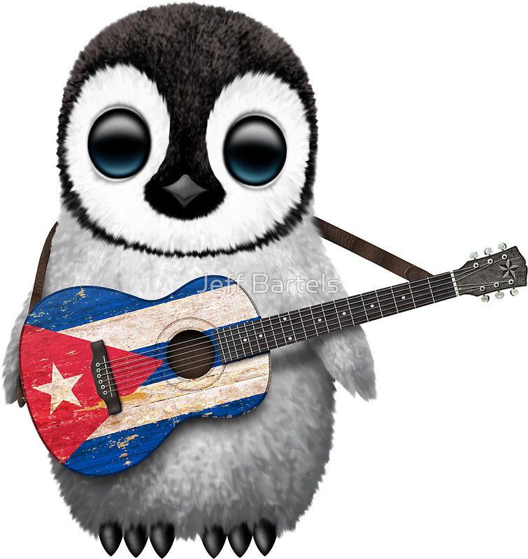 Cuban flag guitar baby penguins guitar stickers penguins