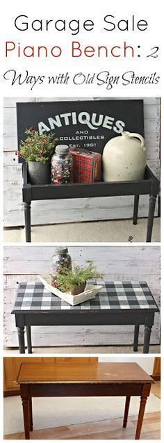 Garage Sale Piano Bench Upcycle with Buffalo Checks/Antiques Stencils