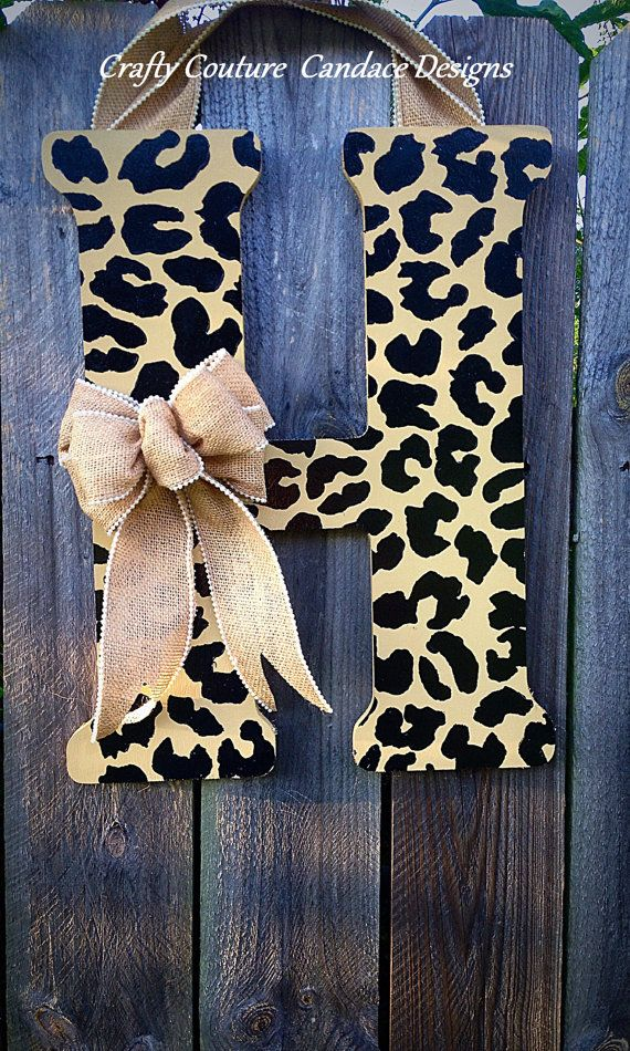 Cheetah Print Monogram Door Hanger with Burlap Bow | Door ...
