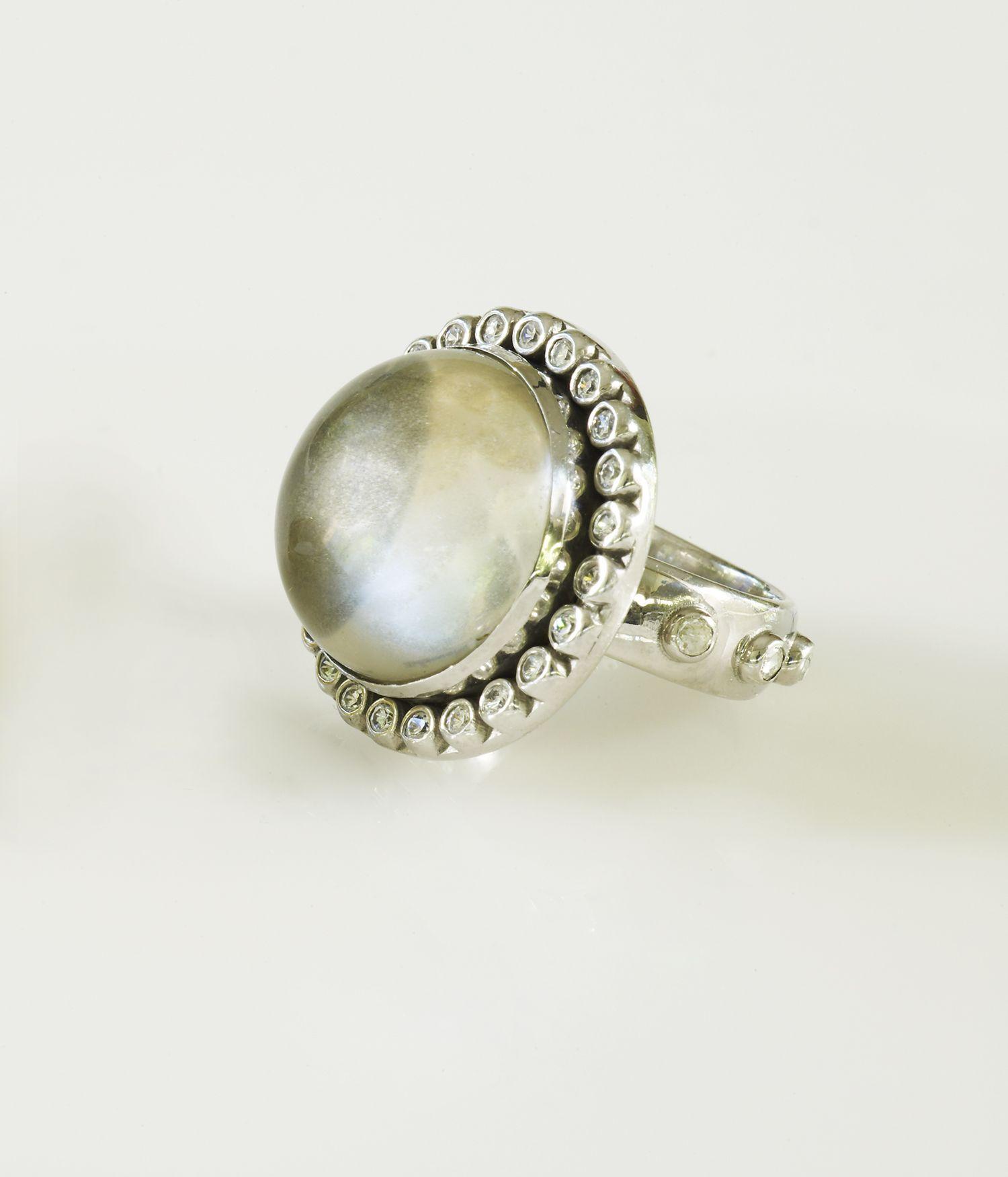 Modern Mary Ring Diamond Rosary Band and Bezel KATIE design