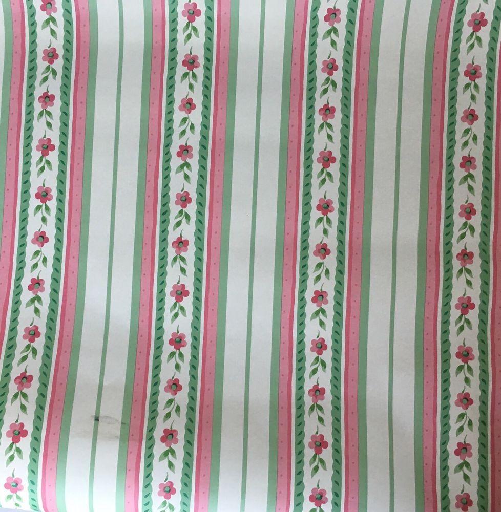 VTG Waverly Wallpaper Pink Green White Stripe Flower One