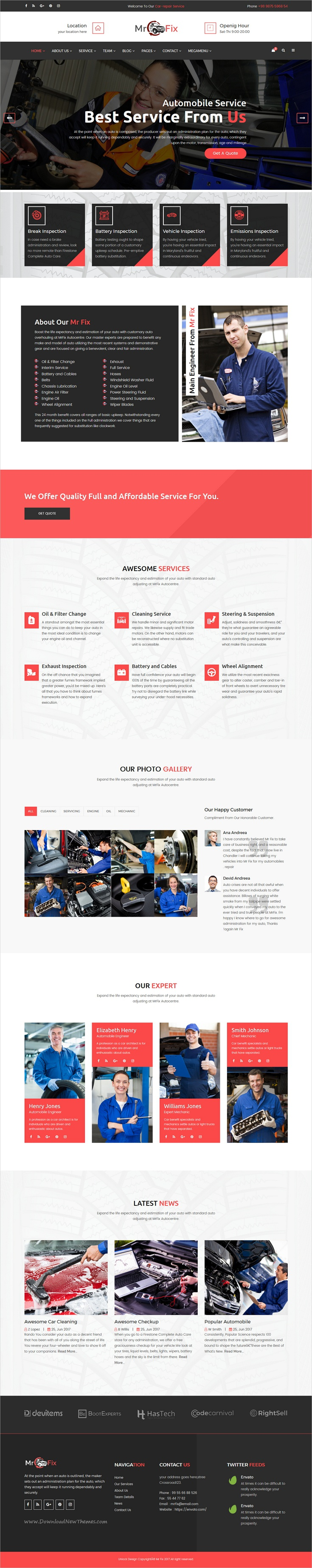 Mr fix is a wonderful responsive html bootstrap template for car repair workshop