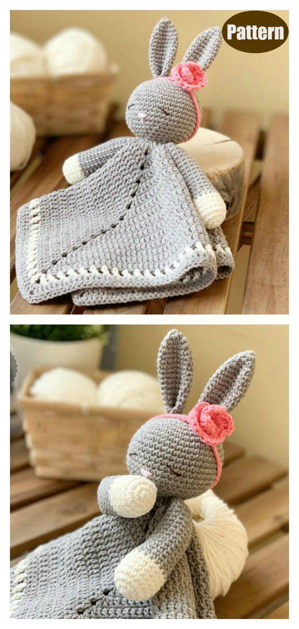 Sleepy Bunny Lovey Crochet Pattern Free and Paid #crochetsecurityblanket