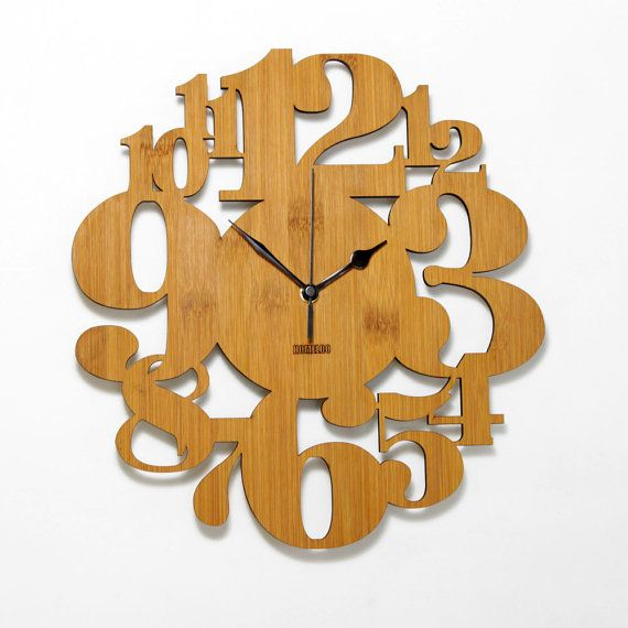 Unique Bamboo Wall Clock Numeric Forest Kitchen Vintage Etsy Wall Clock Design Wood Clock Design Bamboo Wall