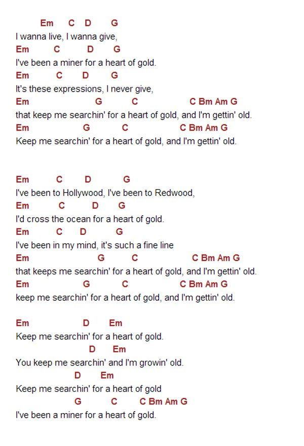 heart of gold chords - ค้นหาด้วย Google | Guitar chords ...