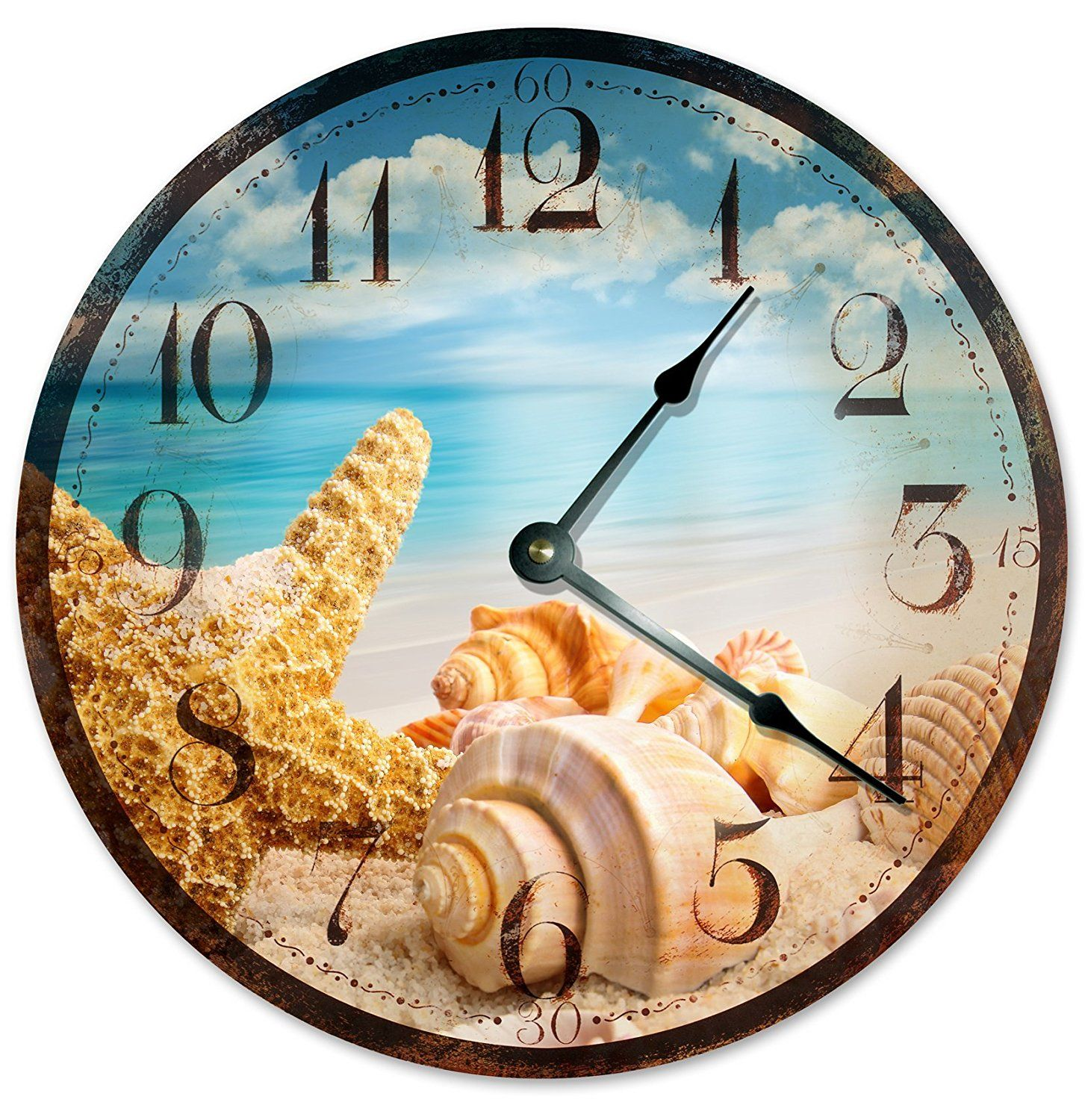 Rustic Sea Shells Beach Clock Large 10 5 Wall Decorative Round Ocean Home Decor Novelty Beachy Details Can Be Fou