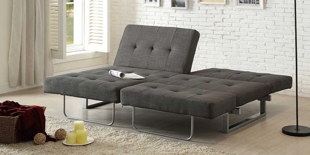 Elegant Grey Fabric Futon Sofa Bed