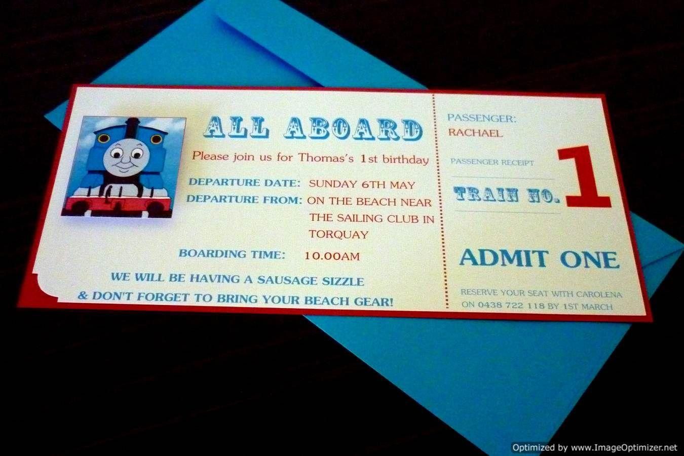Thomas the Tank ticket invitation | Thomas the tank engine party ...