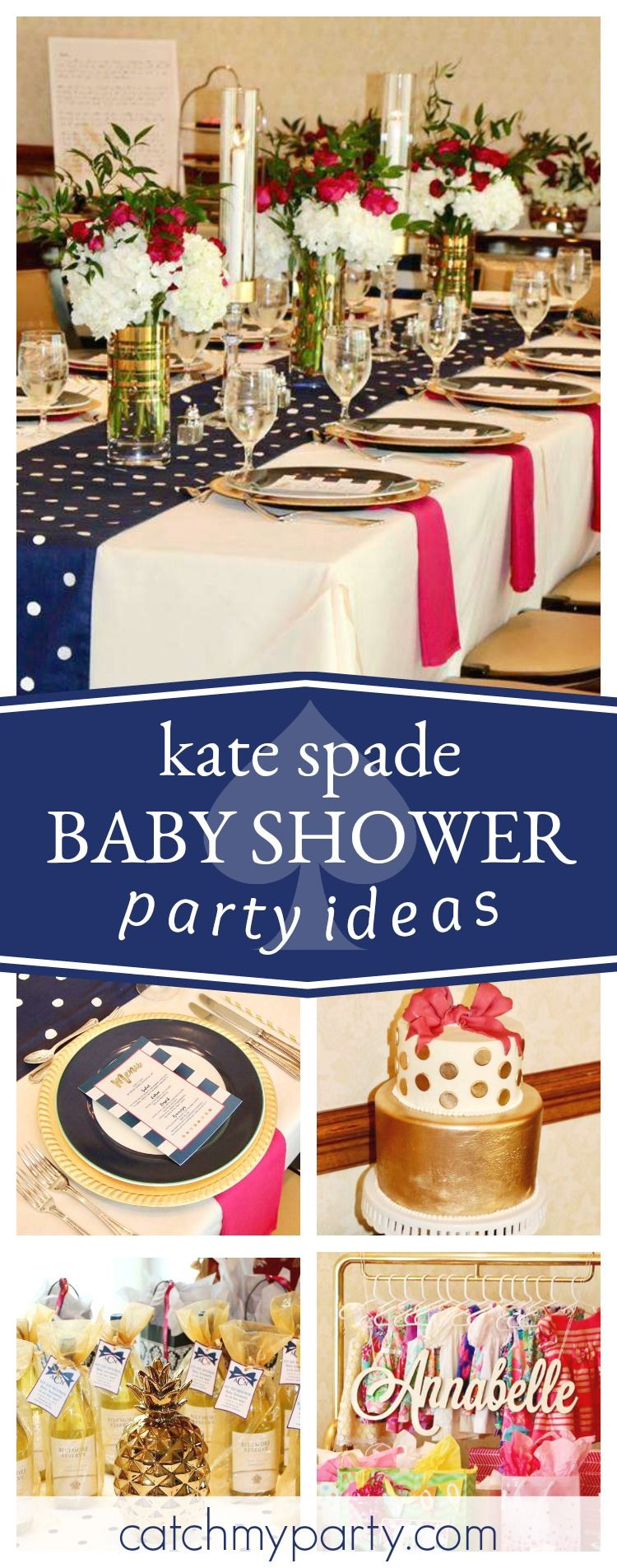 Navy, Pink and Gold Kate Spade / Baby Shower \