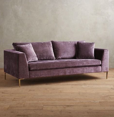 Anthropologie Edlyn Slub Velvet Lavender Sofa