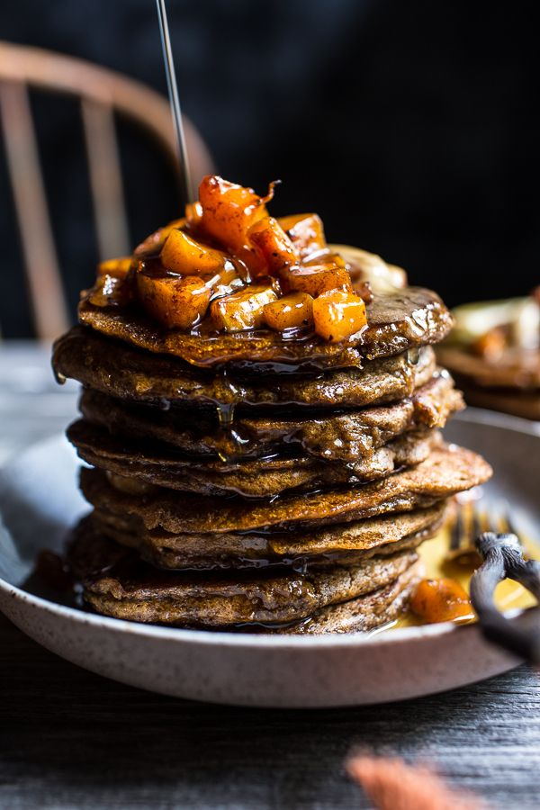 Spiced Almond Pancakes with Candied Butternut Squash + Maple Butter   halfbakedharvest.com @hbharvest