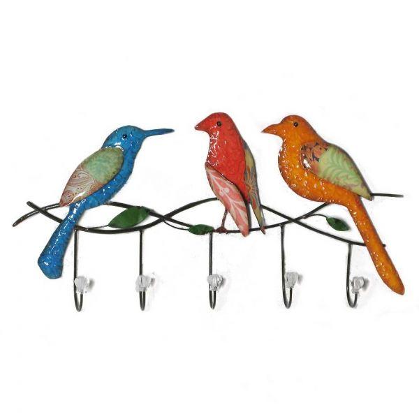 Glossy birds on wall hooks from earth homewares · outdoor metal wall artwall