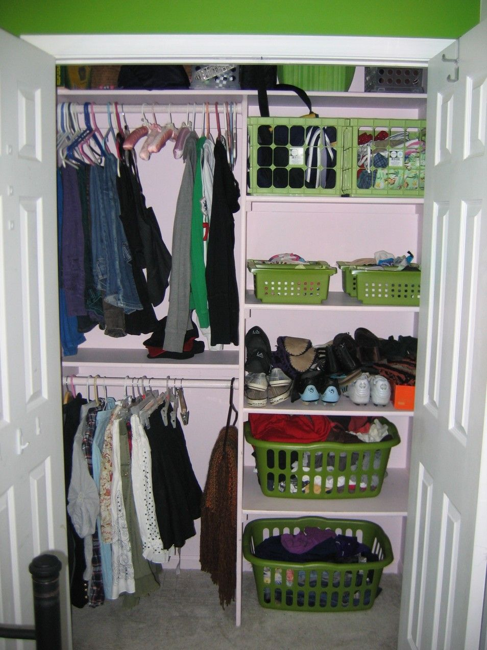 Creative Closet Organization Ideas Part - 41: Furniture Ideas Cool White Small Closet With Green Basket In Green Bedroom  Design Captivating Small Closet Organization Ideas With 42 Astonish  Beautiful ...