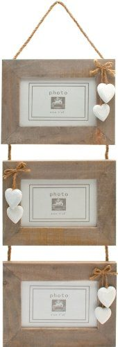 chic shabby rustic wooden triple three 3 hanging photo frame 6x4 white hearts from