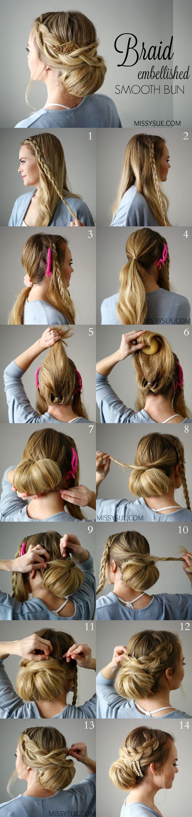 Braid embellished smooth bun hair pinterest smooth hair style