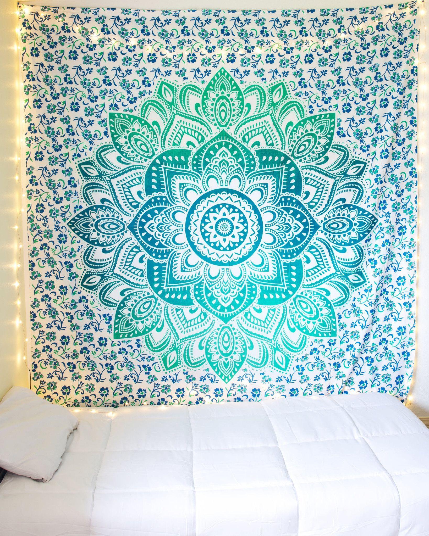 Green Bohemian Mandala Tapestry From The Bohemian Shop Girl