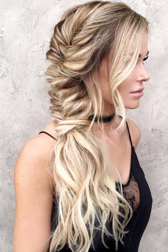 Photo of Bohemian Dutch Fishtail Braid Hairstyle