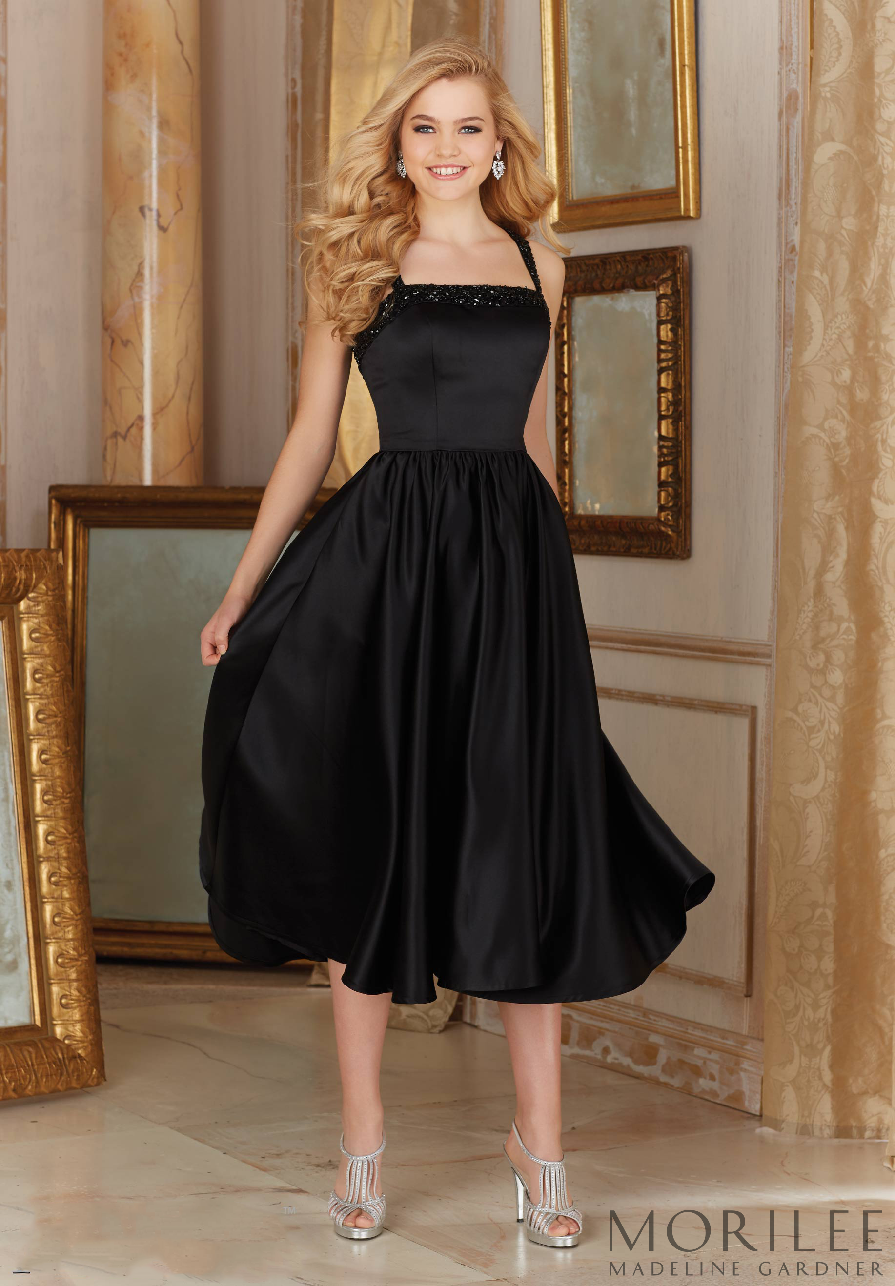 Morilee Satin With Beading Bridesmaid Dress In Black Midi Or Tea Length Available In Bridesmaid Dresses 2017 Mori Lee Bridesmaid Dresses Bridesmaid Dresses [ 2636 x 1834 Pixel ]