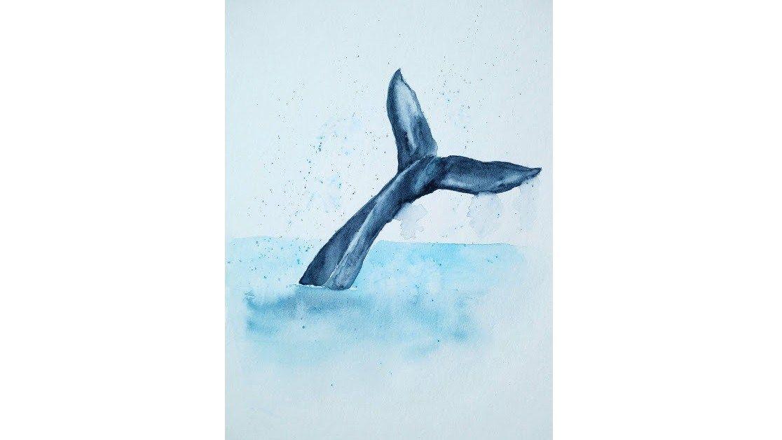 Une Queue De Baleine A L Aquarelle Aquarelle Facile Peinture