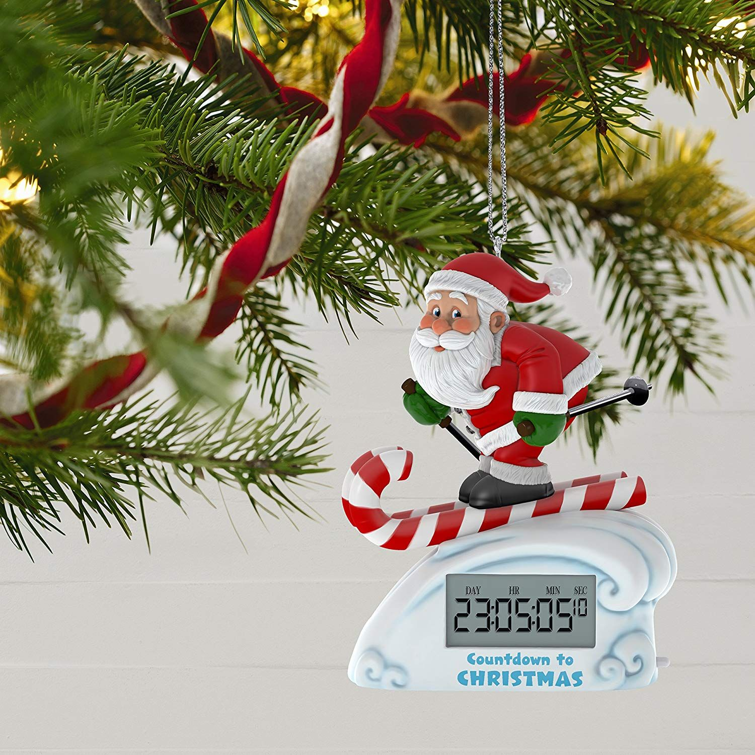 Countdown To Christmas Clock.Hallmark Santa Skiing Countdown To Christmas Clock Ornament