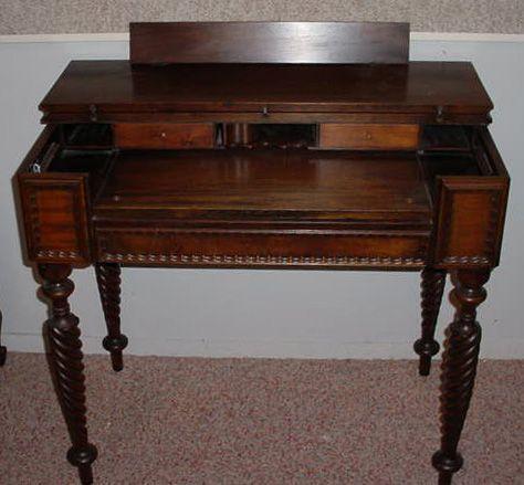 391f Antique Spindle Leg Flip Top Desk With Ink Wells Lot