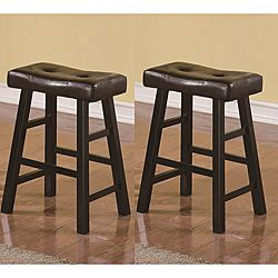 Saddle Black Brown 24 Inch Biecast Leather Counter Height Bar Stools