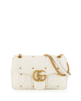 865e4d6dc GG+Marmont+2.0+Medium+Quilted+Shoulder+Bag,+White+by+Gucci+at+Neiman+Marcus.