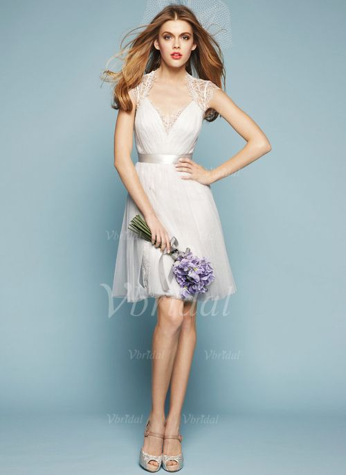 Wedding Dresses - $108.89 - A-Line/Princess V-neck Knee-Length Tulle ...
