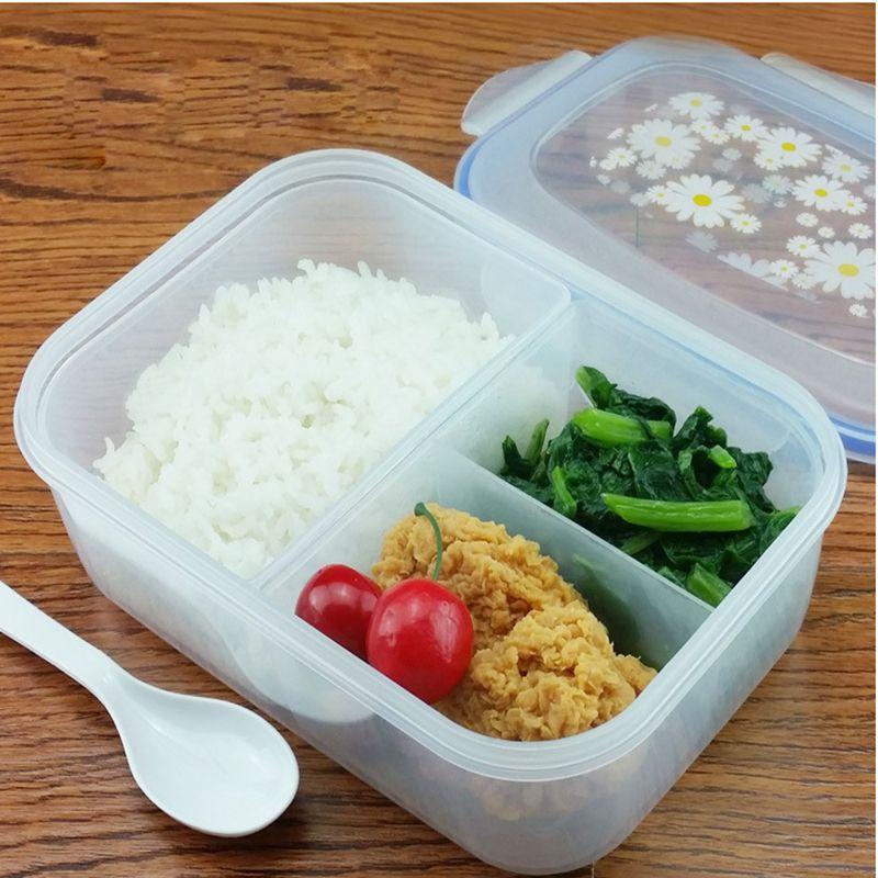 Fashion High Capacity Geschirr Sets PP Bento Lunchbox Lebensmittelbehälter Griff Singel Schicht Lunchbox Geschirr Hochwertige