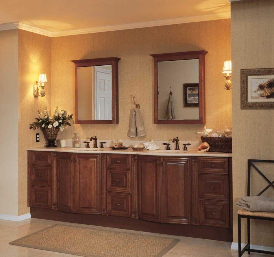 Furniture good bathroom decoration ideas using cherry wood double