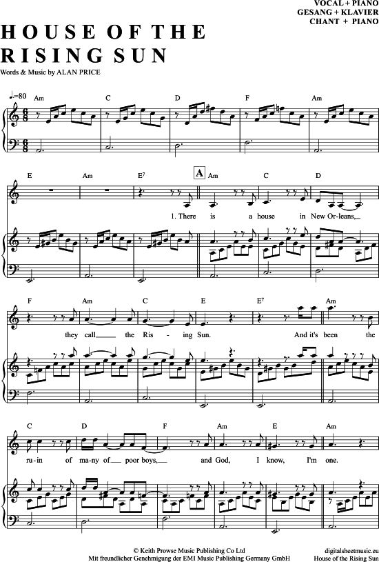 The House Of The Rising Sun (Klavier + Gesang) [PDF Noten