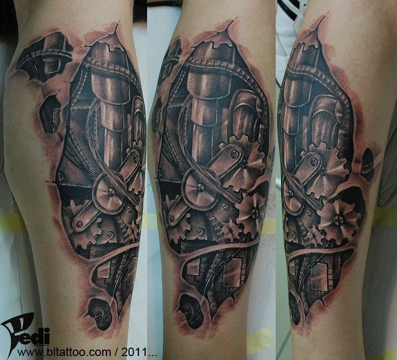 Steampunk Clock Gears Biomechanical Tattoo Gears Tattoo Sleeve